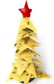 Edible Christmas Tree Appetizer ~ made from triangular pieces of cheese and olives that are thread onto a wooden skewer. A star on top is made from red pepper.