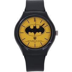 ililily DC Comics Classic Batman Logo W/ Chic Black Band Fashion... ($35) ❤ liked on Polyvore featuring jewelry, watches, batman, logo watches, logo jewelry, black jewelry, black jet jewelry and black wrist watch