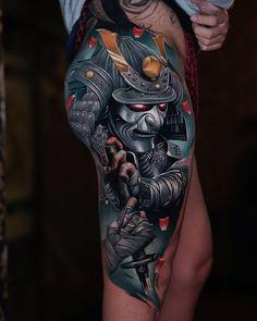 Samurai by ATA, an artist at Sabian Ink Studio in Bali. Samurai Maske Tattoo, Hannya Maske Tattoo, Samurai Tattoo Sleeve, Samurai Warrior Tattoo, Warrior Tattoos, Irezumi Sleeve, Japanese Leg Tattoo, Japanese Legs, Japanese Tattoo Designs