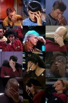 """Nobody does the Facepalm better than we did on Star Trek."" - Courtesy of George Takei's Twitter feed. - Imgur"