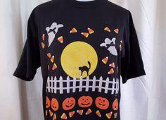 Halloween Shirt Jerzees PegiGoff Vintage 1991 Med Black Ghost Jack O Lanterns | eBay