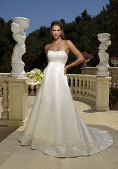 Stunning Satin Sweetheart Zipper up A line Chapel Train Bridal Gowns