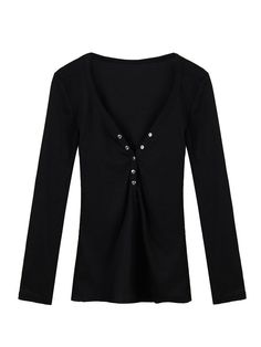 Women Sexy Deep V-Neck Casual Solid Long Sleeve Buttons BlouseWomen Sexy Deep V-Neck Casual Solid Long Sleeve Buttons Blouse
