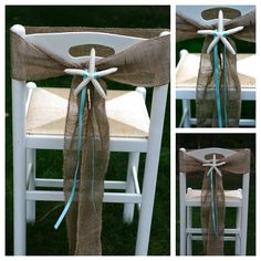 Beach Wedding Burlap and Starfish Chair Sashes or Beach Cottage Chair Sashes - Set of 10. $100.00, via Etsy.