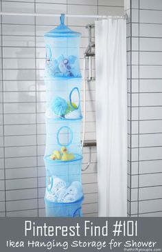 What a great idea! Use the IKEA hanging mesh netted organizers to store and dry bath/shower toys, loofahs, poufs and supplies!