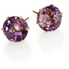 IPPOLITA Rock Candy Dark Amethyst & 18K Yellow Gold Stud Earrings