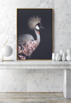 Faunascapes Flower Portraits - Crowned Crane #faunascapes #doubleexposure #animalart #artprint #interiordesign #styling