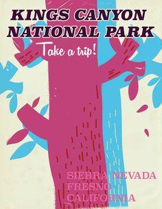 Kings Canyon National Park California vintage travel poster Art Print