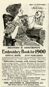 vintage sewing clipart, black and white clip art, lady doing embroidery work, brainerd & armstrong co, old magazine ad, free sewing printabl...