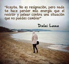 Acepta, propone el Dalai Lama. Y aclara, no es resignación. Tampoco es dejar de buscar lo que se quiere o necesita. Sin embargo, hay cosas que no se pueden cambiar y que si no se aceptan se resient…