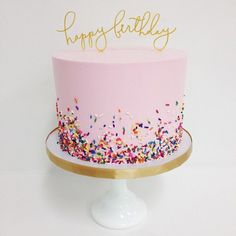 """Sprinkles + @littlecatdesignco_shop toppers Cake by @__sammyflowers"""