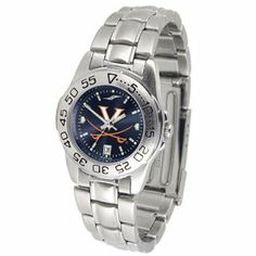 """Virginia Cavaliers NCAA AnoChrome """"Sport"""" Ladies Watch (Metal Band) by SunTime. $63.00. Rotation Bezel/Timer. Calendar Date Function. Scratch Resistant Face. This handsome, eye-catching watch comes with a stainless steel link bracelet. A date calendar function plus a rotating bezel/timer circles the scratch resistant crystal. Sport the bold, colorful, high quality logo with pride. The AnoChrome dial option increases the visual impact of any watch with a stunning ra..."""