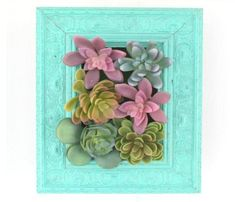 Hanging Succulents, Succulents Diy, Dollar Store Crafts, Dollar Stores, Dollar Tree Mirrors, Succulent Wall, Succulent Ideas, Diy Spray Paint, Giant Paper Flowers