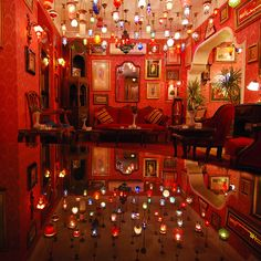 Coloured glass lamps at Kybele Cafe in Istanbul, Turkey (by Thomas Roland).