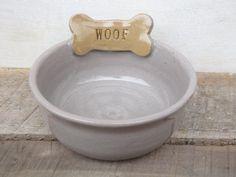 """Ceramic Dog Bowl // Handmade Pottery Dog Bowl // Pet Bowl """"Woof"""" on Etsy, $28.00"""