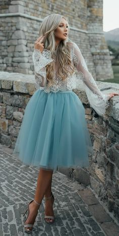 Long sleeve prom dresses, light blue long sleeve prom dresses, short prom dresses, 2017 homecoming dress beautiful two pieces lace short prom dress party Long Sleeve Homecoming Dresses, Dresses Short, Semi Formal Dresses Modest, Blue Dresses, 60s Dresses, Woman Dresses, Daytime Dresses, Tutu Rock, Princess Prom Dresses