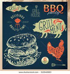 Delicious juicy burger. Sketch vintage illustration eps10