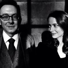 "Michael Emerson as Harold Finch and Amy Acker as Samantha ""Root"" Groves on Person of Interest."