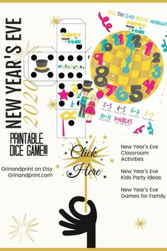 New Year& Eve Games / New Year& Games for Kids / New Years Eve Party Games / Dice Game / Party Activities / New Year& Eve / Printable - Valentine's Day Party Games, Christmas Party Games, Birthday Party Games, Party Activities, Kids Christmas, Articulation Activities, Party Fun, Therapy Activities, Kids New Years Eve