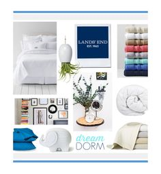"""Design Your Dream Dorm with Lands' End: Contest Entry"" by hellodollface ❤ liked on Polyvore featuring interior, interiors, interior design, home, home decor, interior decorating, Lands' End, Brinkhaus, Room Essentials and Dot & Bo"
