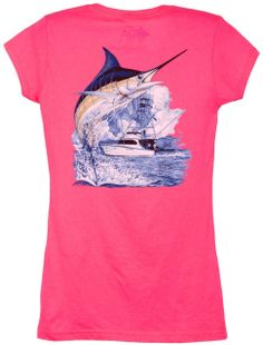f9e976887a946 Guy Harvey Marlin Boat Back-Print Junior Ladies Tee with Front Faux Pocket  in Raspberry