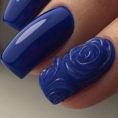 Фотография Royal Blue Nails Designs, Gel Nail Designs, Luv Nails, Pretty Nails, Cute Acrylic Nails, Gel Nail Art, Prom Nails, Wedding Nails, Rhinestone Nails