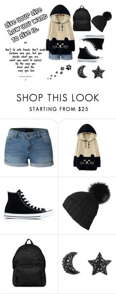"""""""Live your life how you want to live it"""" by emily-abella on Polyvore featuring LE3NO, WithChic, Converse, Black and Hogan"""