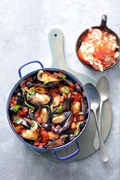 Clams Seafood, Seafood Pasta, Fish And Seafood, Potato Recipes, Fish Recipes, Seafood Recipes, No Salt Recipes, Dutch Recipes, Good Food