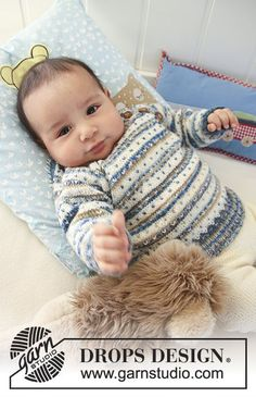 Hello Stripes / DROPS Baby 19-3 - Sæt med: Strikket bluse med striber, lus og raglan, bukser og sokker til baby og børn i DROPS Fabel.