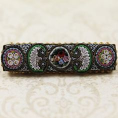 Antique Italian Micro Mosaic Bar Brooch by scdvintage on Etsy