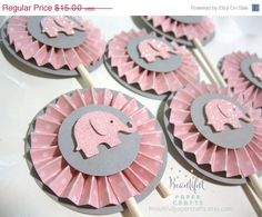 ANNIVERSARY SALE Pink and Gray Elephant by BeautifulPaperCrafts
