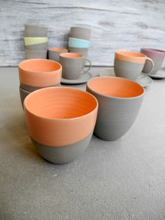 need to make these glazes! This is just the picture... no recipe. Grey & Orange pottery - by Suus Notenboom