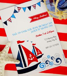 Printable nautical Invitations - perfect for birthdays but also see this theme for a baby shower!