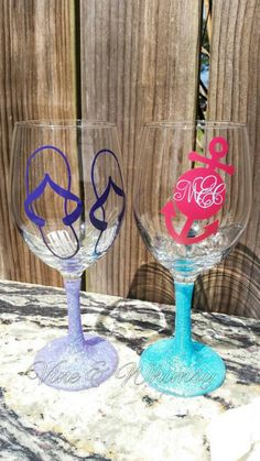 Glitter Wine Glass Personalized Flute Custom Goblet Vinyl Decal - Wine glass custom vinyl stickers