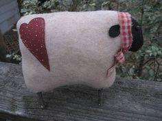 Primitive felt Sheep ornie Shelf SiTTeR doll 1 by CreationsbyGena