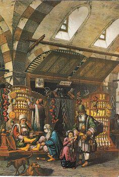 Scene at the Grand Bazaar of Istanbul. Monuments, Istanbul, Fantasy Town, Oriental, Muslim Culture, Arabian Art, Academic Art, Grand Bazaar, Ottoman Empire