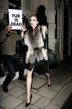 Well if the fur was alive, it would make it a lot more difficult to wear. Mario Testino for Vogue c. 2008.