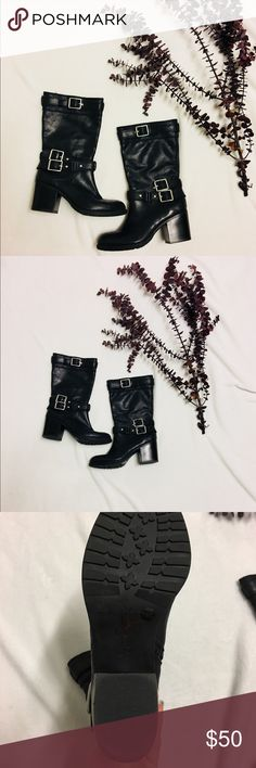 Jessica Simpson black motorcycle boots Jessica Simpson black leather motorcycle boots. Size 7.5. Worn once. Slight scuffing on heels as shown. Heel height is 3 inches. High quality. Jessica Simpson Shoes Combat & Moto Boots