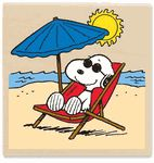 "Snoopy relaxing at the beach 3""x3"" rubber stamp."