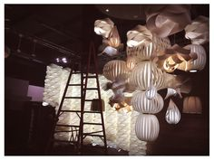 Totem, Link Chain, Poppy, Mikado, Agatha, Raindrop, Domo... all the lamps, togheter in the Euroluce booth . Isn't it wonderful?