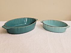 Set Of 2 Chantal Teal #Blue Oval #Baking #Casserole Style #Dish Sz 1 cup & 2.5 cups #Chantal
