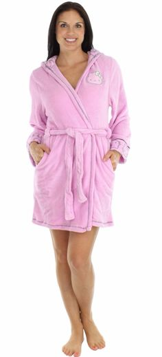 This Hello Kitty hooded plush robe is great for lounging around the house. Made of Fleece. Features a contrast stitch and piping, fleece-lined hood. Sizes run as follows (this is the teen/adult line -