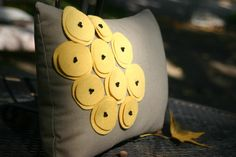 Yellow Poppy Pillow - easy to make, cute with the red poppy pillow