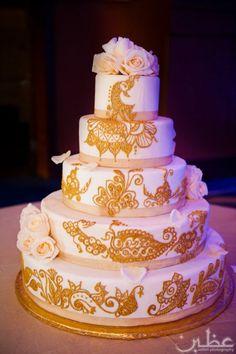 white and gold henna cake, indian wedding cake