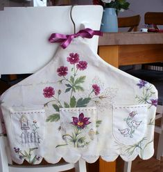 Vintage fabric and needlework made into Clothes Hanger Cover -- love little pockets Fabric Crafts, Sewing Crafts, Sewing Projects, Hand Embroidery, Machine Embroidery, Little Presents, Linens And Lace, Handmade Home, Sewing Hacks