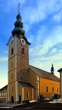 This beautiful village church is one of 3 belonging to the municipality of Oberneukirchen. The village church of Traberg II Sacred Architecture, Kirchen, San Francisco Ferry, Austria, Christian, Deviantart, Building, Beautiful, Culture