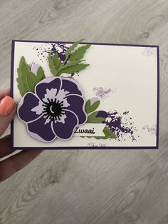 Purple poppies card Stampin' Up! - Purple poppies card Stampin' Up! Calligraphy Cards, Purple Poppies, Poppy Cards, Bee Cards, Stamping Up Cards, Pretty Cards, Sympathy Cards, Cool Cards, Flower Cards