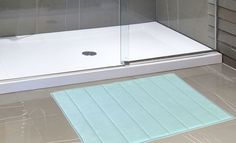 """Royal Bath Collection Luxurious Memory Foam Solid Color Large (21"""" x 34"""") Bath Mat with Anti-Slip Latex Backing (Spa Blue)"""