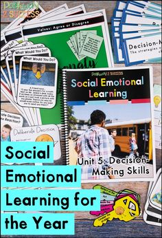 This is a complete social emotional learning curriculum for the entire year! Great for upper elementary or middle school to help kids learn skills for self-awareness, emotions, social skills, relationships, self-management, decision-making, and more. It is filled with classroom lessons, worksheets, crafts, art, centers, and more for teens to learn SEL skills. #sel #pathway2success #socialemotionallearning Social Emotional Learning, Social Skills, Art Centers, Activities For Teens, Social Awareness, Study Skills, Help Kids, Upper Elementary, Decision Making