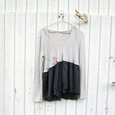 upcycled clothing / romantic cropped hoodie shirt   by CreoleSha, $64.99